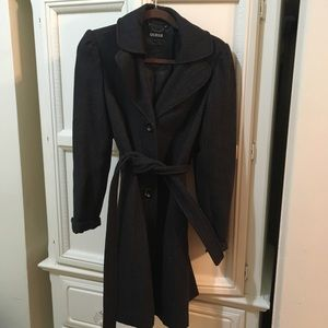 Guess wool mid length coat w/ belted waist